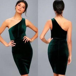 LULUS Velvet One-Shoulder Bodycon Dress NWT